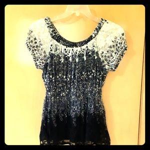 Dress barn black and white top